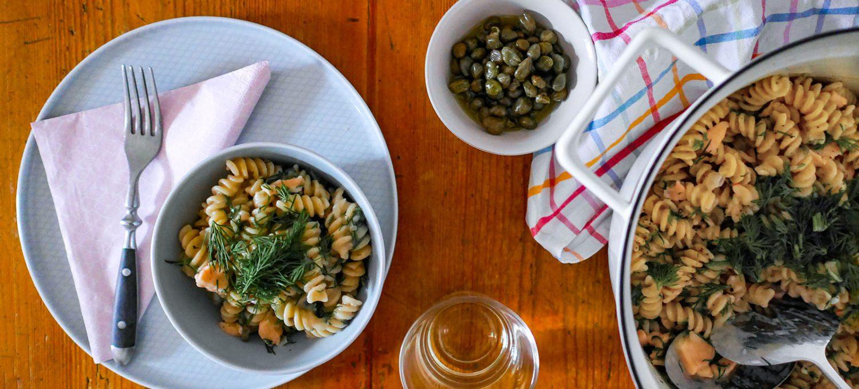One Pot Pasta mit Räucherlachs